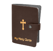 "Brown Leatherette Catholic Prayer Card Holder Snap Closure..Catholic Prayer Card Holder. 20 Page Leatherette Prayer Card Holder Album with Snap Closure and Gold Stamping. 3 1/2 x 5"" Holds up to 40 Prayer Cards. Paper or Laminated"