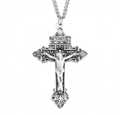 "Deluxe Pardon Crucifix cross in Solid .925 sterling silver Medal is die struck. Hand polished and engraved by New England Silversmiths. Dimensions: 2.1"" x 1.3"" (52mm x 34mm) Weight of medal: 5.5 Grams. Made in USA."