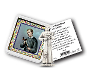 "My Catholic Pocket Statue SAINT GERARD with Holy Card Clear Pouch...3"" x 3"" Catholic Pocket Statue with Gold Stamped Prayer Holy Card Packaged in a Clear Soft Pouch. Statue: 1 3/4"". Material: Metal Antique Silver..Imported: Italy"