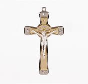 "Premium Italian made Gold Tone Cross Clear Crystals Genuine Silver Oxidized Corpus 5""..This exceptionally detailed die-cast Cross is made in the region of Italy that produces the finest quality Crucifixes in the world."