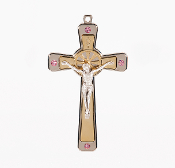 "Premium Italian made Gold Tone Cross Pink Crystals Genuine Silver Oxidized Corpus 5""..This exceptionally detailed die-cast Cross is made in the region of Italy that produces the finest quality Crucifixes in the world."