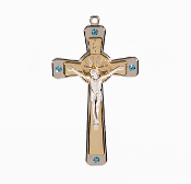 "Premium Italian made Gold Tone Cross Blue Crystals Genuine Silver Oxidized Corpus 5""..This exceptionally detailed die-cast Cross is made in the region of Italy that produces the finest quality Crucifixes in the world."