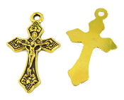 "25/Pc Small Antique Gold Finish Crucifix Wheat/Grape 1"" x 11/16"" Rosary Bracelet Part-Necklace-"
