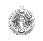 100% Sterling Silver Round Miraculous Medal Chain-Gift Boxed-USA