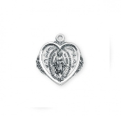 Heart Shaped Miraculous Medal Sterling Silver Chain-Boxed-USA.All of our Fine Sterling Silver medals are made of only the finest materials available. Our Catholic medals have up to 12 steps in the manufacturing and finishing process.