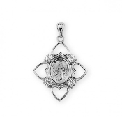 "Sterling Silver Crystal Cubic Zirconia ""CZ"" Miraculous Medal USA"