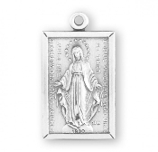 Vintage Style Sterling Silver Rectangular Miraculous Medal 1830.. All of our Fine Sterling Silver Medals are made of only the finest materials available. Skilled American craftsmen producing only the finest quality Catholic jewelry-Pendants USA