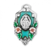 Fancy Border Sterling Silver Miraculous Medal in a Flower Frame Miraculous Medal 1830 All of our Fine Sterling Silver Medals are made of only the finest materials available. Skilled American craftsmen producing only the finest quality.