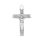 "Bracelet Size Bracelet Parts Sterling Traditional Style Crucifix pendant. Solid .925 sterling silver. Medal is die struck. Hand polished and engraved by New England Silversmiths. Dimensions: 0.7"" x 0.4"" 0.5 Grams. Made in USA."
