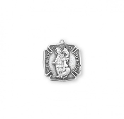 Saint Florian Sterling Silver Fire Fighters Medal-pendant. Bracelet Size Catholic Medals->St Florian medal-pendant. Solid .925 sterling silver. Detail depicts him putting out a fire wearing soldiers garb. Medal is die struck.