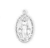 Large Sterling Silver Oval Miraculous Medal Chain-Gift Boxed-USA-Our Catholic Medals have up to 12 steps in the manufacturing and finishing process. Miraculous Medal 1830. Made in THE USA By Skilled American craftsmen