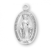 "Premium Sterling Silver Oval Miraculous Medal Boxed-USA 0.8""-Our Catholic Medals have up to 12 steps in the manufacturing and finishing process. Miraculous Medal 1830. Made in THE USA By Skilled American craftsmen"