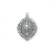 "Premium Sterling Silver Oval Miraculous Medal Rose Border 1.1""-Our Catholic Medals have up to 12 steps in the manufacturing and finishing process. Miraculous Medal 1830. Made in THE USA By Skilled American craftsmen"