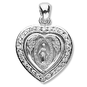 "5/8""x5/8"" Miraculous Medal with Clear brilliant-cut Cubic zirconia Sterling Silver medal. Heart Shape Miraculous medal-Traditional Catholic Medals of Devotion in Fine Sterling Silver. with 18"" Rhodium Chain"