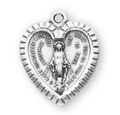 "Sterling Silver Heart Shaped Miraculous Medal With Wording 0.9""-Our Catholic Medals have up to 12 steps in the manufacturing and finishing process. Miraculous Medal 1830. Made in THE USA By Skilled American craftsmen"