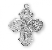 "Four-way combination Cross Solid Sterling Silver Catholic 1.1"" Holy Spirit, Scapular Sacred Heart of Jesus Lady of Mt. Carmel Miraculous Medal, Saint Joseph Guardian Angel, Infant of Prague,Lady of Mount Carmel four man way man ladys"