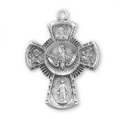 "Holy Spirit Four way Medal Cross Solid Sterling Silver 1.2"" necklace subjects Holy Spirit, Scapular Sacred Heart of Jesus Lady of Mt. Carmel Miraculous Medal, Saint Joseph Guardian Angel, Infant of Prague,Lady of Mount Carmel four man way man ladys"