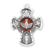 "Catholic Four way Cross RED Enameled Medal Sterling Silver 0.9"" .Holy Spirit, Scapular Sacred Heart of Jesus Lady of Mt. Carmel Miraculous Medal, Saint Joseph Guardian Angel, Infant of Prague,Lady of Mount Carmel four man way man ladys"