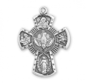 "Deluxe Four way Medal Solid Sterling Silver Catholic Cross 0.9"" necklace subjects Holy Spirit, Scapular Sacred Heart of Jesus Lady of Mt. Carmel Miraculous Medal, Saint Joseph Guardian Angel, Infant of Prague,Lady of Mount Carmel"