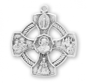 "Infant of Prague 4-Way Medal Cross Sterling Silver 1.1"" necklace subjects Holy Spirit, Scapular Sacred Heart of Jesus Lady of Mt. Carmel Miraculous Medal, Saint Joseph Guardian Angel, Infant of Prague,Lady of Mount Carmel four man way man lady"
