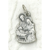 25/Pk Holy Family Silhouette medal Genuine Silver Oxidized 2.3cm-This exceptionally detailed die-cast medal is made in the region of Italy that produces the finest quality medals in the world.. Premium Genuine Silver Oxidized Finish