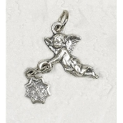 25/Pk Angel Silhouette medal Genuine Silver Oxidized Italy 2.3cm-This exceptionally detailed die-cast medal is made in the region of Italy that produces the finest quality medals in the world.. Premium Genuine Silver Oxidized Finish