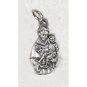 25/Pk St Anthony Silhouette medal Genuine Silver Oxidized 2.2cm-This exceptionally detailed die-cast medal is made in the region of Italy that produces the finest quality medals in the world.. Premium Genuine Silver Oxidized Finish
