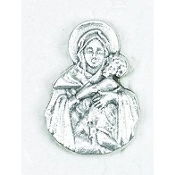 "25/Pk Mary Holding Jesus Silhouette medal Silver Oxidized 3/4""-This exceptionally detailed die-cast medal is made in the region of Italy that produces the finest quality medals in the world.. Premium Genuine Silver Oxidized Finish"