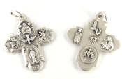 "Premium Four-Way Cross Medal Genuine Silver Oxidized H-1"" Italy - Saint Joseph, St Christopher, Sacred Heart of Jesus (Scapular), Lady of Grace (Miraculous), Back Side Infant of Prague, Lady of Lourdes, St Anthony, Holy Spirit catholic Pendant"