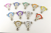 11/Pc Mixed Madonna Halo Silver Finish Color Rosary Center 1.3cmCustom Colors: Light Blue, Yellow, Pink, Green, Gold, Purple, White, Red, Orange, Dark Blue