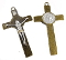 St Benedict Crucifix Bronze Finish with Silver and Gold ACCENTS 2 5/8x1 1/16""