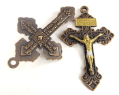 "Vintage COPPER Pardon Crucifix GOLD: Jesus and Silver ACCENTS 2"" INDULGENCE CROSS..Our Deluxe Pardon Crucifixes are known for the most Beautiful intricate designs- --Rosary making parts Necklace-"