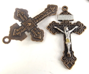 "two tone Vintage COPPER Pardon Crucifix Silver: Jesus and Gold ACCENTS 2"" INDULGENCE CROSS..Our Deluxe Pardon Crucifixes are known for the most Beautiful intricate designs- --Rosary making parts Necklace-"