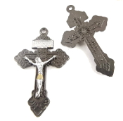 "GunMetal Pardon Crucifix GOLD: Jesus and Silver ACCENTS 2"" INDULGENCE CROSS..Our Deluxe Pardon Crucifixes are known for the most Beautiful intricate designs- --Rosary making parts Necklace-"