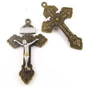 "Bronze Pardon Crucifix with Silver: Jesus and Gold ACCENTS 2"" INDULGENCE CROSS..Our Deluxe Pardon Crucifixes are known for the most Beautiful intricate designs- --Rosary making parts Necklace-"