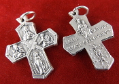 "Premium Four-Way Cross Medal Genuine Silver Oxidized H-1"" Italy - Saint Joseph, St Christopher, Sacred Heart of Jesus (Scapular), Lady of Grace (Miraculous),"