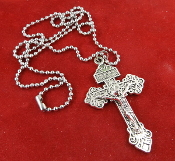 "2"" Pardon Crucifix Pendant RETRO SILVER Finish on 24"" Stainless Steel Chain and Stainless Steel Spilt Ring.."