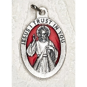 10/Pc Divine Mercy 1-1/2 Inch Oval Red Enamel Silver Medal BULK-Extra large Premium Italian made Enameled medals Genuine SILVER OXIDIZED Finish-This exceptionally detailed die-cast is made in the region of Italy that produces...