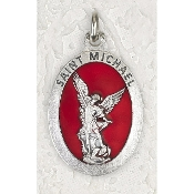 10/Pc Saint Michael 1-1/2 Inch Oval Red Enamel Silver Medal BULK-Extra large Premium Italian made Enameled medals Genuine SILVER OXIDIZED Finish-This exceptionally detailed die-cast is made in the region of Italy that produces...