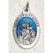 10/Pc St Christopher 1-1/2 Inch Oval Blue Enamel Silver Medal BULK-Extra large Premium Italian made Enameled medals Genuine SILVER OXIDIZED Finish-This exceptionally detailed die-cast is made in the region of Italy that produces...