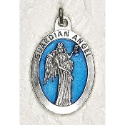 10/Pc Guardian Angel 1-1/2 Inch Oval Blue Enamel Silver Medal BULK-Extra large Premium Italian made Enameled medals Genuine SILVER OXIDIZED Finish-This exceptionally detailed die-cast is made in the region of Italy that produces...