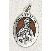 "10/Pc Saint Francis 1-1/2"" Oval Brown Enamel Silver Medal BULK -Extra large Premium Italian made Enameled medals Genuine SILVER OXIDIZED Finish-This exceptionally detailed die-cast is made in the region of Italy that produces..."