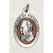 "10/Pc Saint PIO 1-1/2"" Oval Brown Enamel Silver Medal BULK -Extra large Premium Italian made Enameled medals Genuine SILVER OXIDIZED Finish-This exceptionally detailed die-cast is made in the region of Italy that produces..."