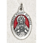 10/Pc Sacred Heart of Jesus 1-1/2 Inch Oval Red Enamel Silver Medal BULK-Extra large Premium Italian made Enameled medals Genuine SILVER OXIDIZED Finish-This exceptionally detailed die-cast is made in the region of Italy that produces...