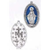 "EXTRA LARGE Wall Miraculous Silver Medal 6-1/2"" Oval Blue Enamel-Extra large Premium Italian made Enameled medals Genuine SILVER OXIDIZED Finish-This exceptionally detailed die-cast is made in the region of Italy that produces..."