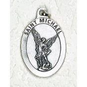 "24/Pc LARGE St Michael 1.5"" Silver Oxidized Medal BULK Italy-Extra large Premium Italian made medals Genuine SILVER OXIDIZED Finish. This exceptionally detailed die-cast is made in the region of Italy that produces the finest quality medals in.."
