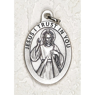 "24/Pc LARGE Divine Mercy 1.5"" Silver Oxidized Medal BULK Italy-Extra large Premium Italian made medals Genuine SILVER OXIDIZED Finish. This exceptionally detailed die-cast is made in the region of Italy that produces the finest quality medals in.."