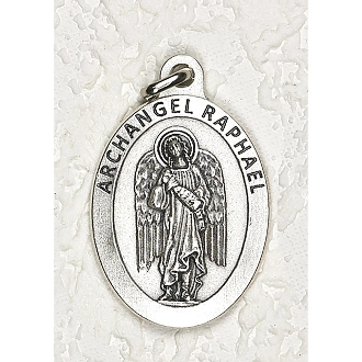 "24/Pc LARGE Archangel Raphael 1.5"" Silver Oxidized Medal BULK Italy-Extra large Premium Italian made medals Genuine SILVER OXIDIZED Finish. This exceptionally detailed die-cast is made in the region of Italy that produces the finest quality..."