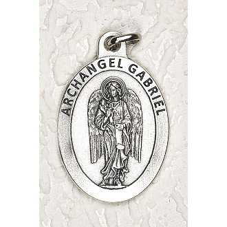 "24/Pc LARGE Archangel Gabriel 1.5"" Silver Oxidized Medal BULK Italy-Extra large Premium Italian made medals Genuine SILVER OXIDIZED Finish. This exceptionally detailed die-cast is made in the region of Italy that produces the finest quality..."