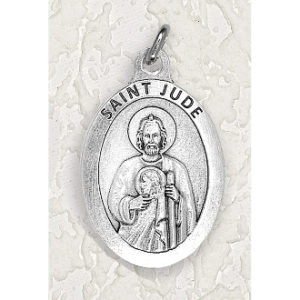 "24/Pc LARGE Saint Jude 1.5"" Silver Oxidized Medal BULK Italy-Extra large Premium Italian made medals Genuine SILVER OXIDIZED Finish. This exceptionally detailed die-cast is made in the region of Italy that produces the finest quality medals in.."